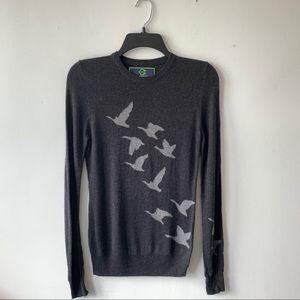 C. Wonder Grey Crewneck Bird Print Angora Sweater